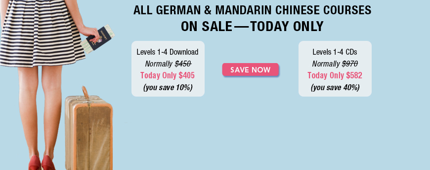 ONE DAY ONLY - All German and Mandarin Courses on Sale